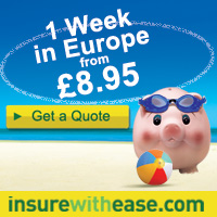Travel Insurance from £8.95 with insurewithease.com