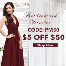 $5 off $50 bridesmaid dresses